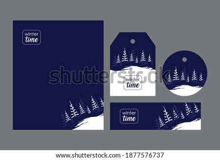 set winter firs on a dark