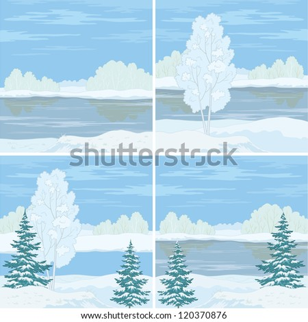 Set winter landscapes: trees, river and blue sky. Vector
