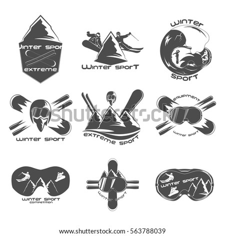 set winter sport logo design