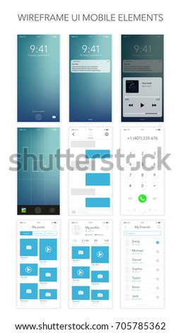 Set wireframe UI mobile elements. Phone, mobile, smartphone, mockup. Realistic vector illustration phone.