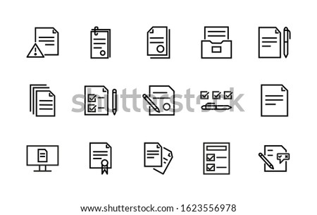 Set with a simple set of documents associated with vector linear icons. Contains icons such as contract, seal, electronic document, document safe, and more. Editable Stroke. 48x48 pixels.