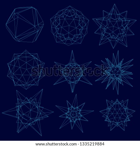 Set with a wireframe of geometric shapes of different shapes from blue lines on a dark background. Vector illustration