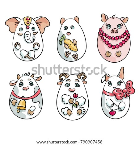 set with 6 animals in a shape