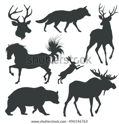 set with animals silhouettes