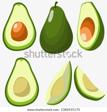 Set with avocado in different angles isolated on white. Sliced avocado. Healthy vegan food. Raw food ingredient. Colorful cartoon vector illustration.