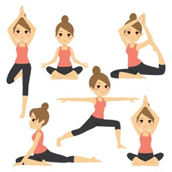 Set with beautiful woman exercising various different yoga poses training