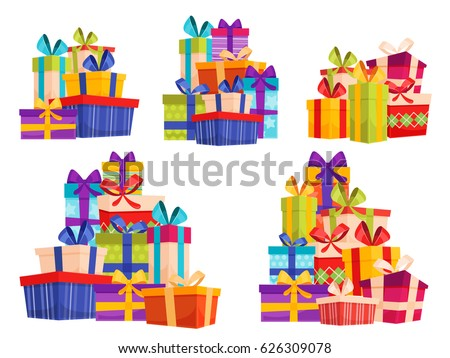 Set with big piles of colorful wrapped gift boxes. Lots of presents. Mountain gifts set. Beautiful present box with overwhelming bow. Present box icons set isolated on white background.