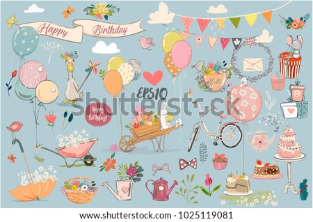 set with birthday animals and elements