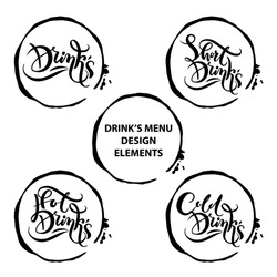 Set with Black and white decorative vector text Short Drinks inside the trace of a mug. For menu design, wine list for restaurants, cafes, bars, lounge bars, cafeterias.