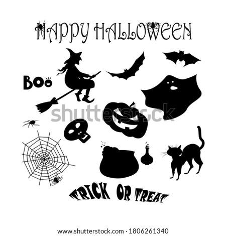 set with black halloween