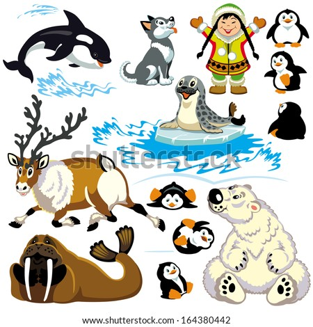 set with cartoon animals of