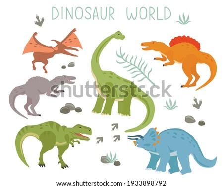 set with cartoon dinosaurs