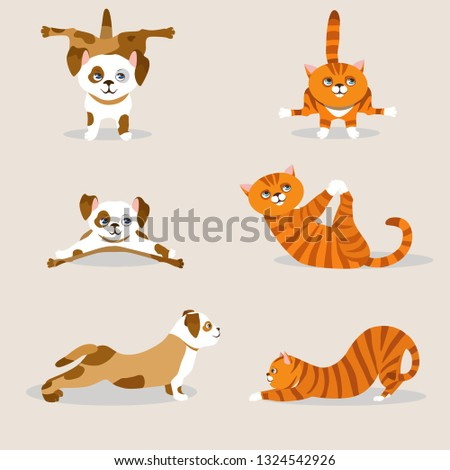 332ef9795d1e Set with cartoon funny animals: red cats and spotty dogs doing yoga  position; asanas