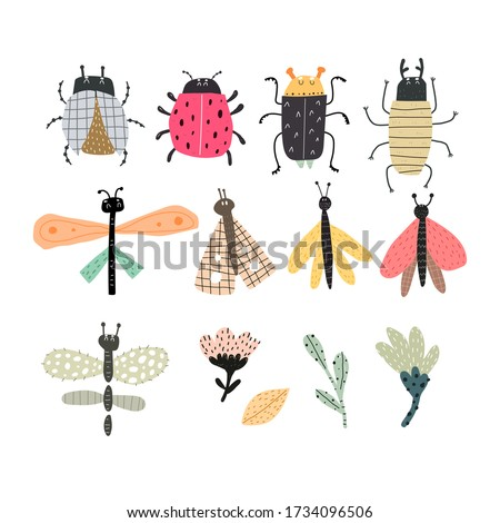 Set with cartoon insects, hand drawing lettering . Colorful flat vector illustration for children.baby design for prints, posters, cards stock photo