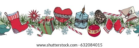 Set with Christmas objects. Wreath, endless brush