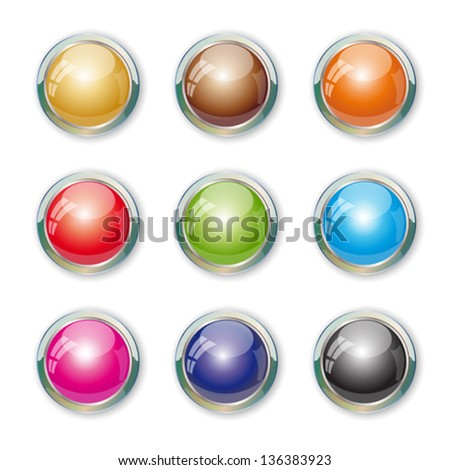 Set with colorful buttons. Illustration 10 version.