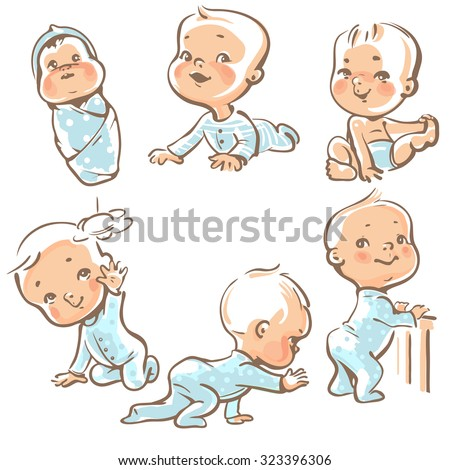 set with cute baby boys