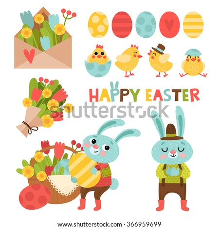 set with cute cartoon easter