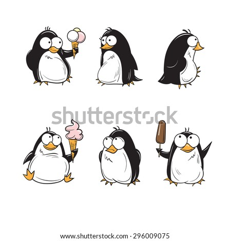 set with cute cartoon penguins