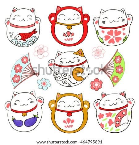 Set with cute cats, good luck charms - maneki neko. Vector illustration.