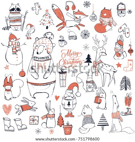 set with cute christmas animals