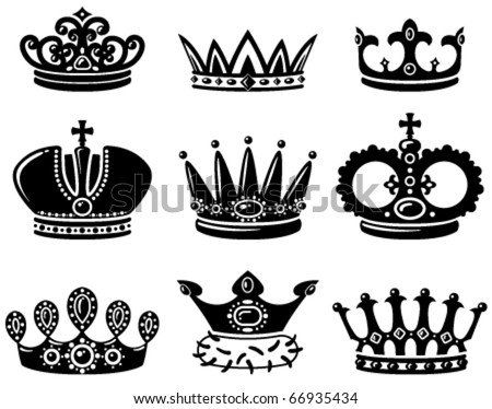 Set with cute crown silhouettes