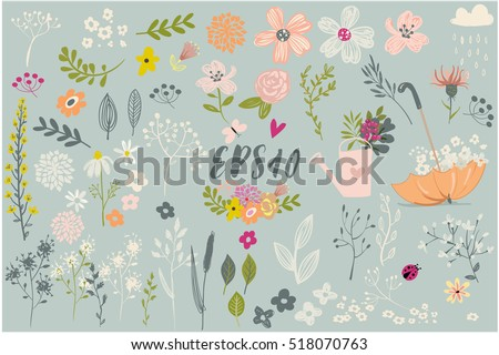 set with cute floral elements