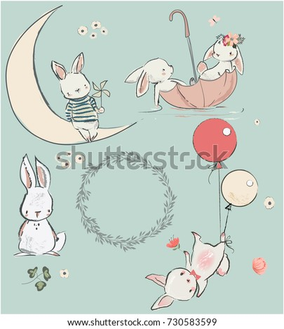 set with cute hares