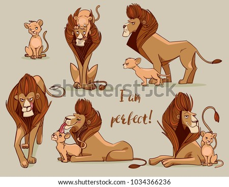 set with cute lions
