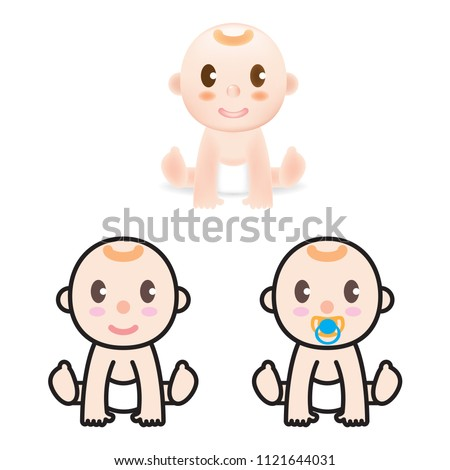 Set with cute little baby in diaper. Happy Smiling baby character, coloring gradient mesh & line illustrator.