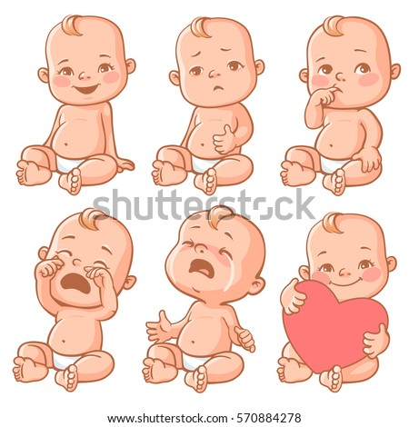 Set with cute little baby in diaper with different emotions. Various face expressions. Happy child, baby cry, toddler hold heart, sick child, sad boy, crying girl, screaming baby. Colorful vector. - Shutterstock ID 570884278