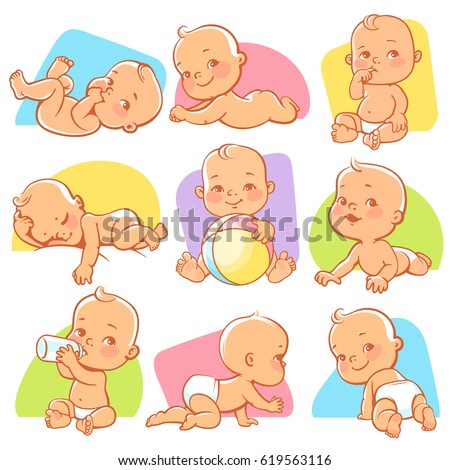 Set with cute little baby in different situations. Playing, sleeping, sitting, lying, crawling baby. Happy smiling newborn boy or girl. Vector illustration. - Shutterstock ID 619563116