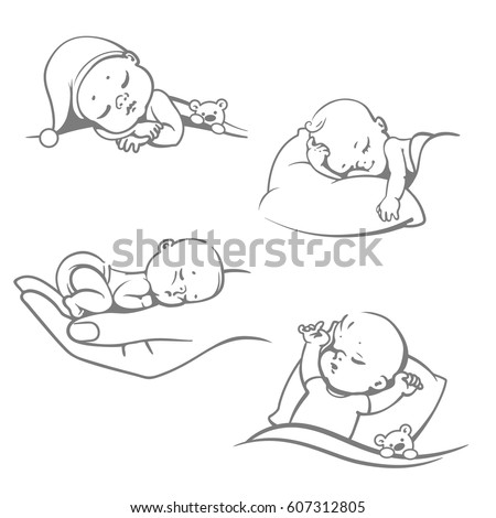 Set with cute little sleeping baby& Different sleeping positions. Children on pillow. on hand, with blanket, with teddy bear. Logo for sleep expert. Line art one color vector illustration.