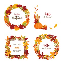 Set with decorative autumn wreaths and frames with leaves, acrons, chestnut, rowan berries, maple. Vector illustration for invitations, sale banners, greeting cards