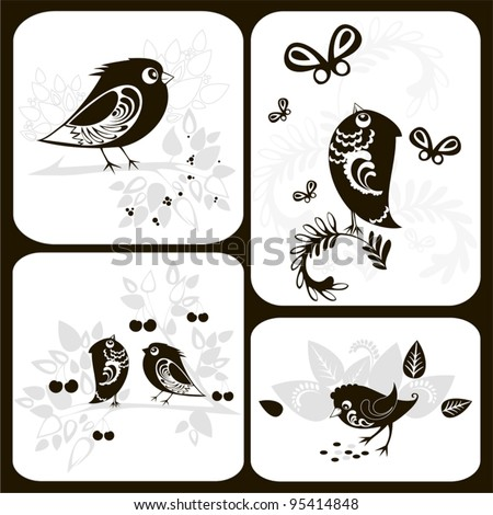 Set with decorative bird black silhouettes on cards with floral ornamental elements. Vector illustration.