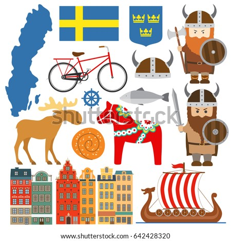Set with design elements of symbols of Sweden and map. Vector illustration