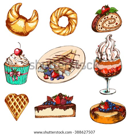 Set with desserts: cupcake, ice cream, sweet roll, cake,pancakes. Hand drawn vector illustration. Dessert in Vintage style.