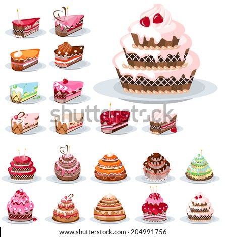Set with different birthday cakes