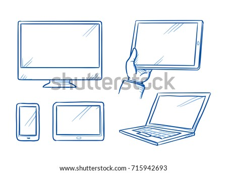 Set with different computer and mobile device icons as tablet, laptop, mobile phone and display, screen. Hand drawn line art cartoon vector illustration.