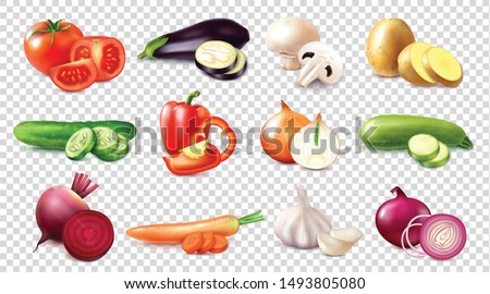 Set with different kinds of vegetables realistic images on transparent background with whole fruits and slices vector illustration