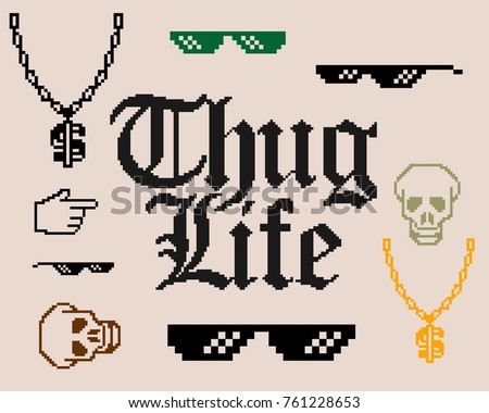 Set with different Thug Life inventory.