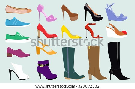 converse shoes clipart. set with different types of trend women\u0027s shoes: ballets, sneakers, boots, flats converse shoes clipart