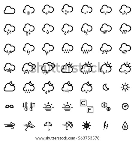 set with different weather icons: cloud, sun, moon, rain snow drops
