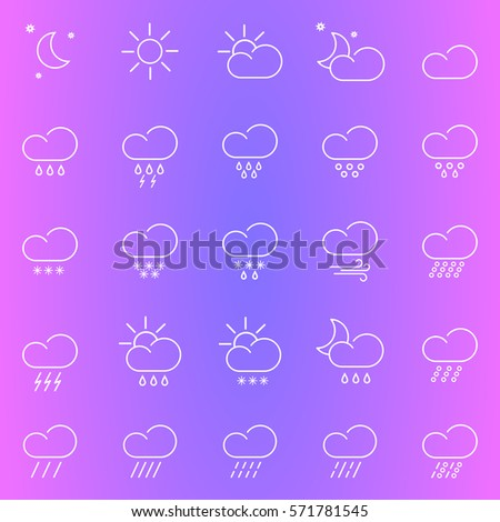 Set with different weather icons. Colorful background.