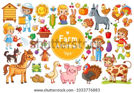 Set with farm animals. Vector collection in a cartoon children's style. #1033776883