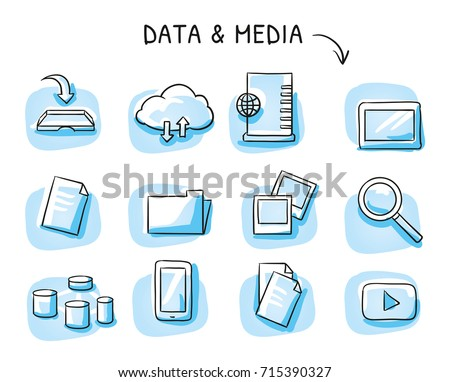 Set with file sharing icons, as cloud, file folder, data blocks, papers, photos, server and mobile devices. Hand drawn sketch vector illustration, blue marker style coloring on single blue tiles.