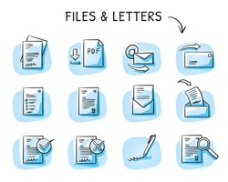 Set with files and paper icons as checklist, form, application, contract, PDF, certificate and signature. Hand drawn sketch vector illustration, blue marker style coloring on single blue tiles.