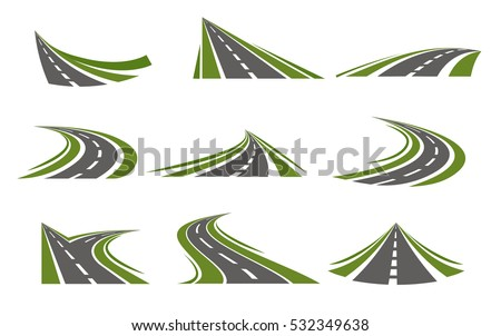 Set with flat isolated curving road image with decorative stylization of roadway winds false mirror style vector illustration