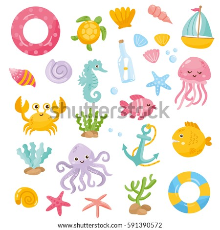 set with funny sea animals and