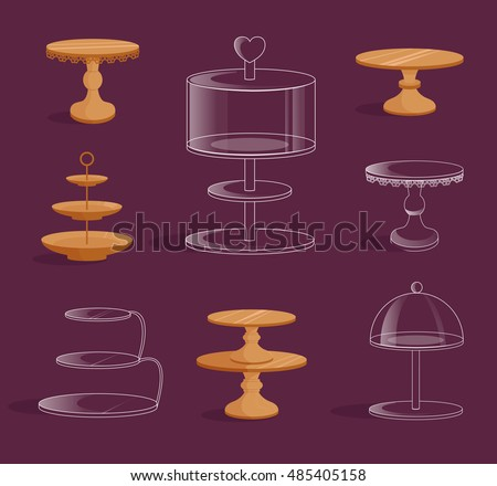 Set with glass and wooden stands for cakes. Vector illustration. Isolated.